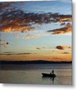 Fishing At Sunset On Lake Titicaca Metal Print