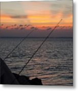 Fishing At Sunset Metal Print