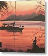 Fishing At Sunset Metal Print by Suzanne  Marie Leclair