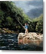 Fishing At  The Crack Of Dawn Metal Print