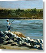 Fishing At The Point Metal Print