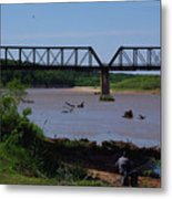 Fishing At The Red River Metal Print
