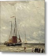 Fishing Barges At Low Tide Metal Print