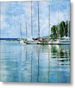 Fishing Bay Reflections Metal Print