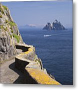 Fishing Boat Approaching Skellig Michael, County Kerry, In Spring Sunshine, Ireland Metal Print