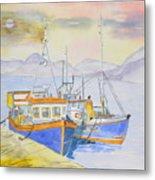 Fishing Boat At Dock Metal Print