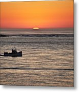 Fishing Boat At Sunrise. Metal Print