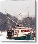 Fishing Boat Emma Rose In Winter Cape Cod Metal Print
