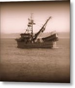 Fishing Boat In Monterey Bay Metal Print