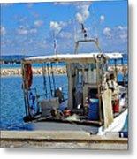 Fishing Boat Moored In The Harbor Of Katakolon Greece Metal Print