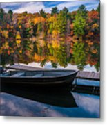 Fishing Boat On Mirror Lake Metal Print
