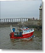 Fishing Boat Wy110 Emulater - Entering Whitby Harbour Metal Print