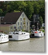 Fishing Boats All In A Row Metal Print