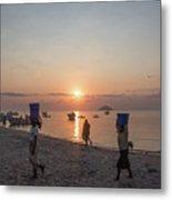 Fishing Boats And The Informal Market - Senga Bay Lake Malawi Metal Print