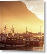 Fishing Boats At Dawn Kalk Bay South Africa Metal Print