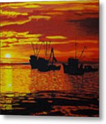 Fishing Boats At Sunset Metal Print