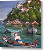 Fishing Boats In Skiathos Old Port Metal Print