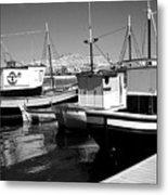 Fishing Boats Monochrome Metal Print