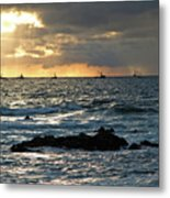 Fishing Boats Off Point Lobos Metal Print