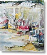 Fishing Boats Settled Aground During Ebb Tide Metal Print