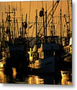 Fishing Boats Sunset Light Metal Print
