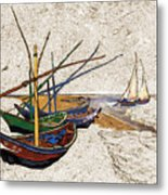 Fishing Boats Van Gogh Digital Art Metal Print