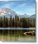 Fishing By Mount Lassen Metal Print