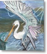 Fishing Egret Metal Print