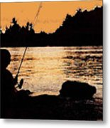 Fishing From A Rock Ae Metal Print