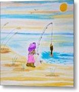 Fishing Girl Metal Print
