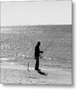Fishing In Black And White Metal Print