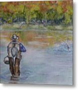 Fishing In Natures Beauty Metal Print