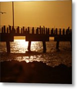 Fishing Off The Pier At Fort De Soto At Dusk Metal Print
