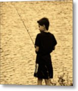 Fishing Patience Metal Print