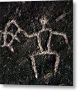 Fishing Petroglyph Metal Print