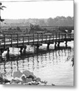 Fishing Pier And Train Tracks Metal Print