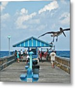 Fishing Pier With Flying Pelican Metal Print