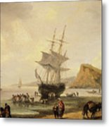 Fishing Scene, Teignmouth Beach And The Ness, 1831 Metal Print