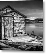 Fishing Shack And Wharf In Norris Point, Newfoundland Metal Print