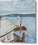 Fishing Shack With Old Glory Metal Print