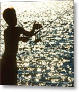 Fishing Silhouette Youngster Metal Print