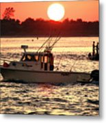 Fishing With Friends At Long Beach Island Metal Print