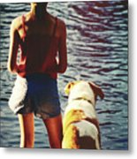 Fishing With The Pup Metal Print