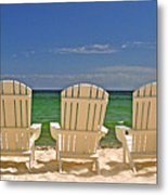Five Chairs On The Beach Metal Print