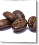 Five Coffee Beans Isolated On White Metal Print