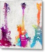 Five Colored Guitars Metal Print