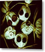 Five Halloween Dolls With Button Eyes Metal Print