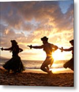 Five Hula Dancers On The Beach Metal Print by David Olsen