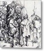 Five Lansquenets And An Oriental On Horseback 1495 Metal Print