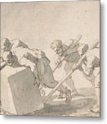 Five Men Pushing A Block Of Stone Metal Print